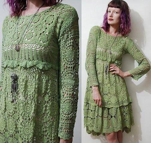 Платье крючком в стиле бохо онлайн на осинке
