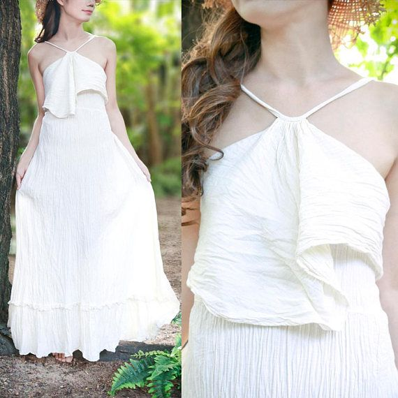 Hey, I found this really awesome Etsy listing at https://www.etsy.com/listing/542982744/halter-maxi-dress-in-off-white-boho