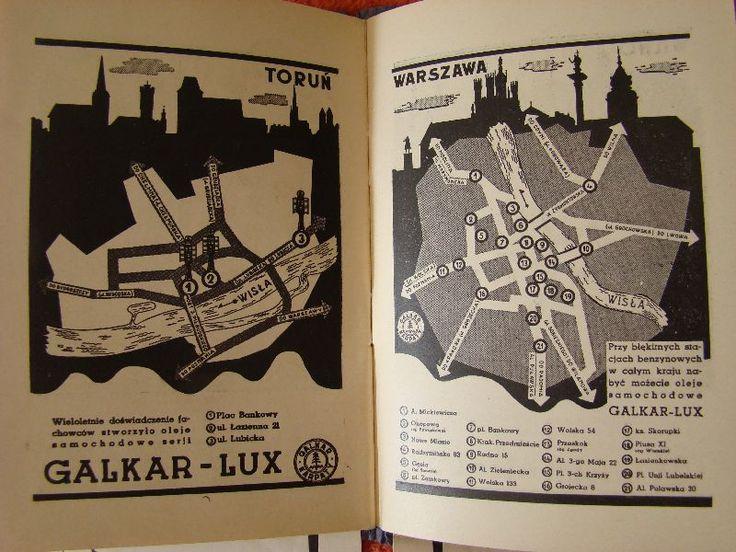 stacje Karpaty w Toruniu i Warszawie - fragment mapy Polski z lat 30-tych X w.