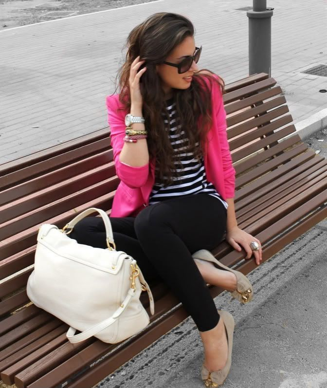Hot Pink Blazer And Black Outfit 2017 Street Style