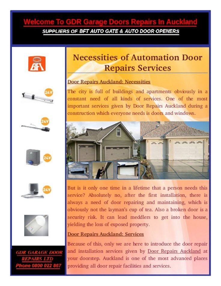 The best part of Door Repairs Auckland services is that even if we don't want to have a new door then to can automate it with a remote control now a days without fully changing the doors.