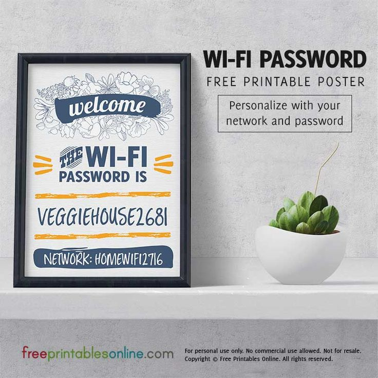 Viniflora Personalized Wifi Password Poster (Free Printables Online)                                                                                                                                                                                 More