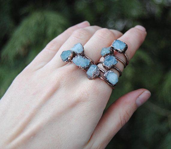 Raw aquamarine ring march birthstone ring rough aquamarine