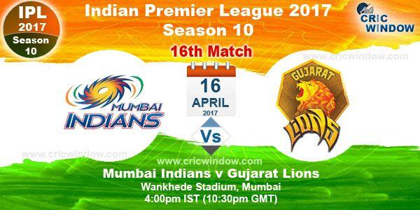 IPL Match 16 Mumbai vs Gujarat (Day) Wankhede Stadium, Mumbai - Sun, 16 Apr 4:00 pm http://www.cricwindow.com