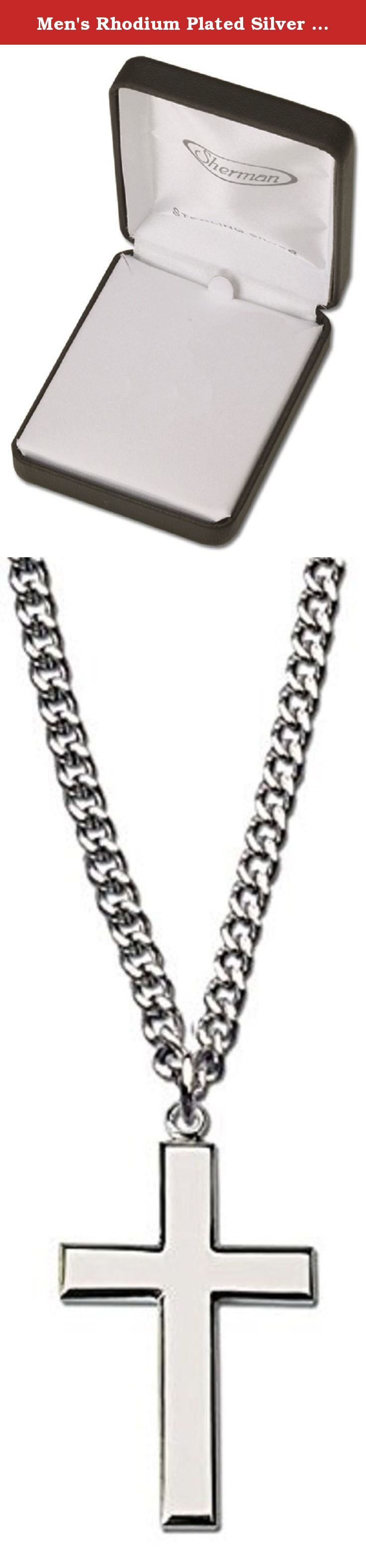 "Men's Rhodium Plated Silver Cross Necklace with 24"" Silver Chain in Leather-ette Gift Box. Men's polished rhodium plated silver Cross necklace. Measures 1"" Long (Vertical, up & down) x 5/8"" Wide (Horizontal, side to side) x 1/8"" Thick (This is an approximate size, they may vary just slightly). The amazing Cross is hung with a 24"" medium weight stainless steel chain (Silver color) that has no clasp. The necklace fits over your head. This necklace is presented in deluxe leather-ette gift…"