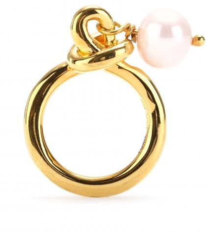Makri for The Row - YELLOW GOLD-PLATED 950 SILVER KNOT RING WITH PEARL - mytheresa.com GmbH