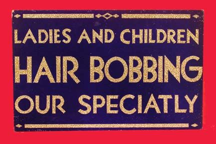 .Hair Bobs, Bobs Signs, Hairdresser Signs,  Tobacconist Shops, Barbershop Signs, 1920S Pin, 1920S Hairdresser, 1920 S Hairdressers, 1920S Piece