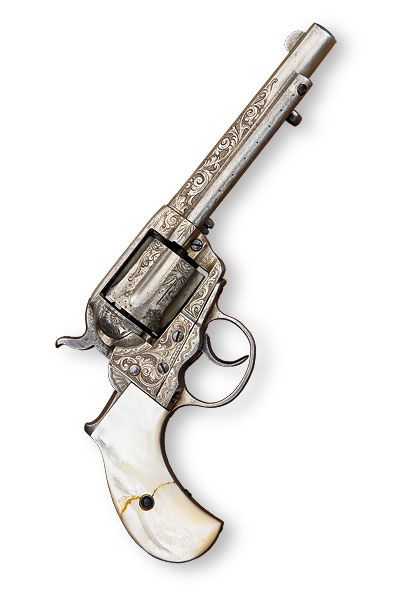 "This five-inch barreled, nickeled and engraved, pearl-handled .41 Colt ""Thunderer"" was taken from Hardin in May 1895 by Deputy Sheriff Will Ten Eyck for ""unlawfully carrying a pistol"" in the Gem Saloon in El Paso, Texas. It was never returned to him, and Ten Eyck later repaired the cracked grip.  – Courtesy Kurt House Collection / By Paul Goodwin –"