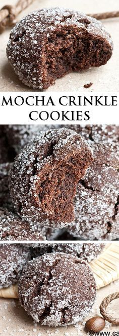 These rich MOCHA CRINKLE COOKIES have a delicious chocolate and coffee flavor. They are sugary and crispy on the outside but soft on the inside. Great for gifting or just snacking! From cakewhiz.com