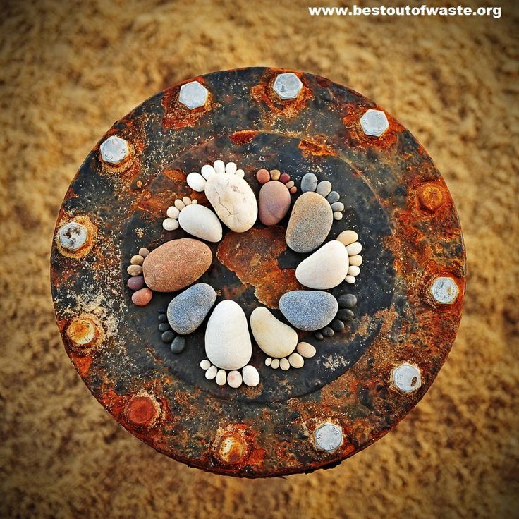 Best out of waste creativity with stones as garden for Creativity out of waste