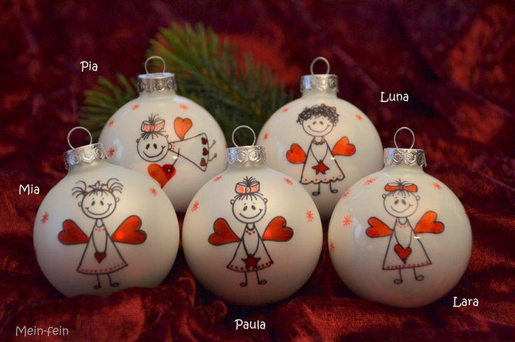 Baumschmuck: Kugeln - Zauberhafte Engel-Weihnachtskugeln aus Glas - ein Designerstück von MeinFein bei DaWanda