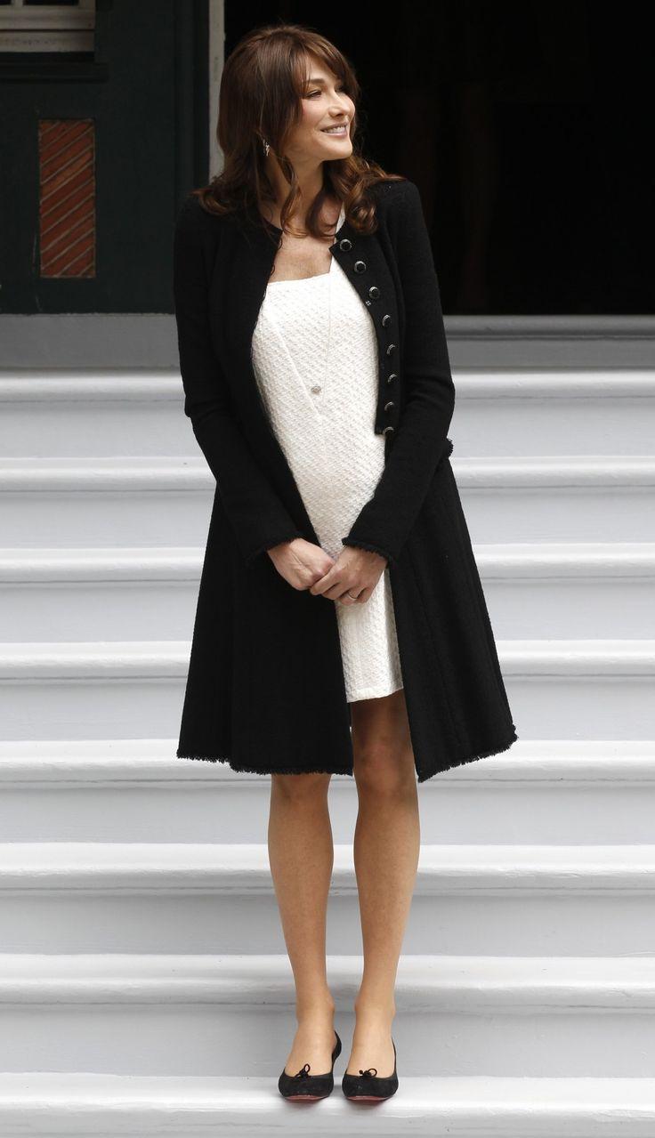 Carla Bruni elegantly pregnant.