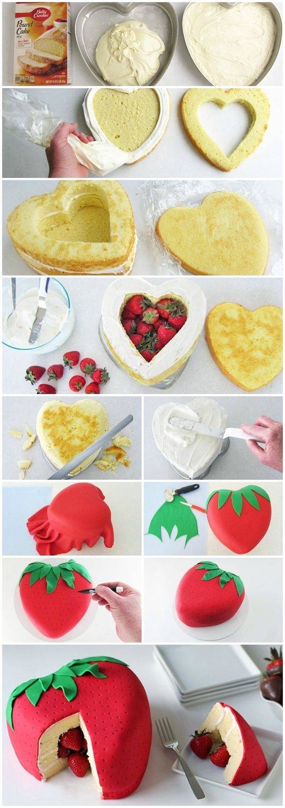 Strawberry Surprise Cake!! I think I'd core the strawberries first before putting them in the cake.