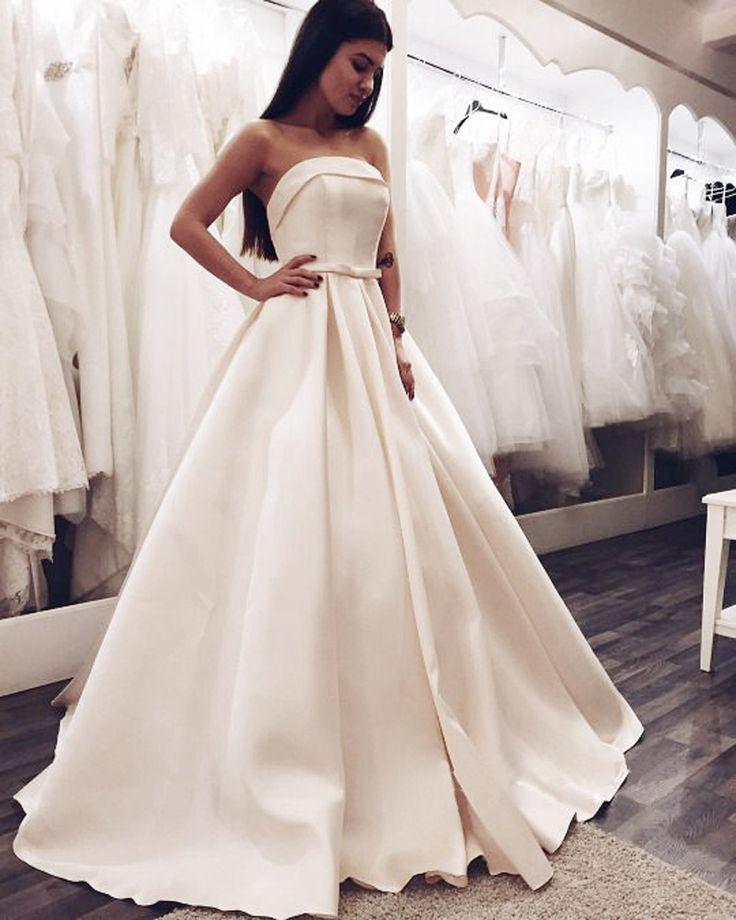 Elegant White Satin Prom Dresses 2016 Custom Made Strapless Long Formal  Evening Dress Cheap Party Gown