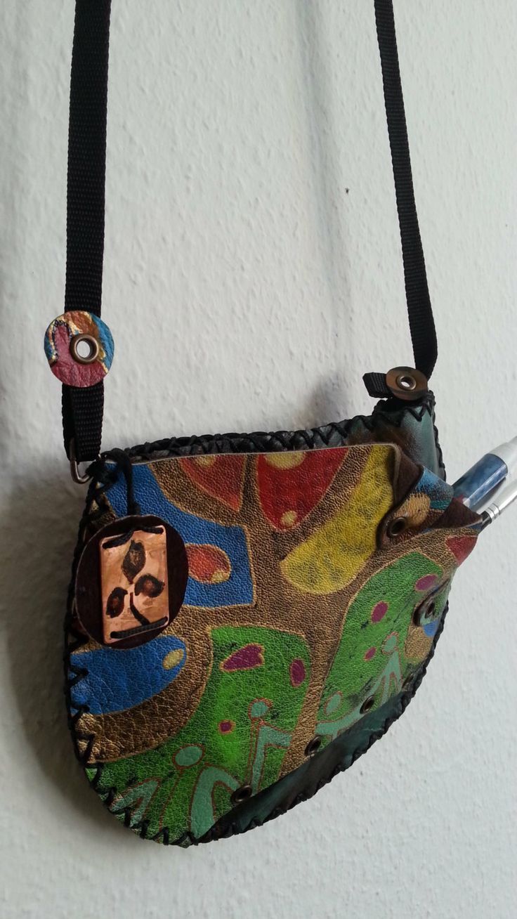 A painted handmade leather purse/bag by YereqnukHandicrafts, €34.00