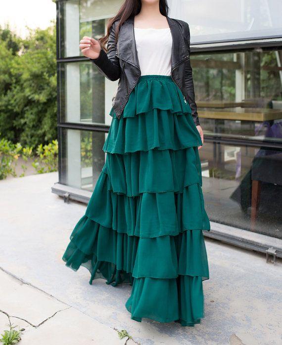Chiffon maxi skirt floor length cake green skirt by Royaldress
