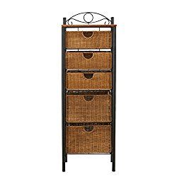 Southern Enterprises 5 Drawer Storage Unit with Wicker Baskets, Black and Caramel Finish