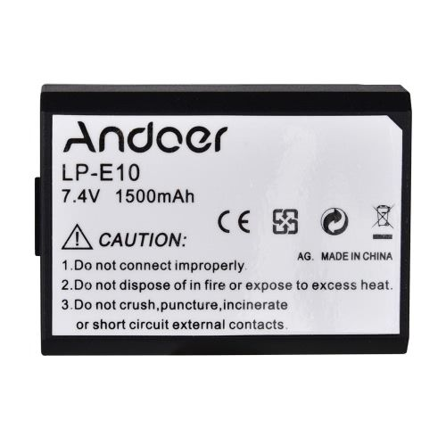 Andoer LP-E10 LPE10 Rechargeable Li-ion Battery 7.4V 1500mAh for Canon EOS 1100D Rebel T3 Kiss X50 Digital SLR Camera Camcorder