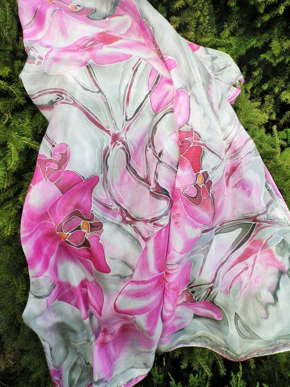 Rosa sciarpa di seta mano verniciato sciarpa di di LigitasWorkshop