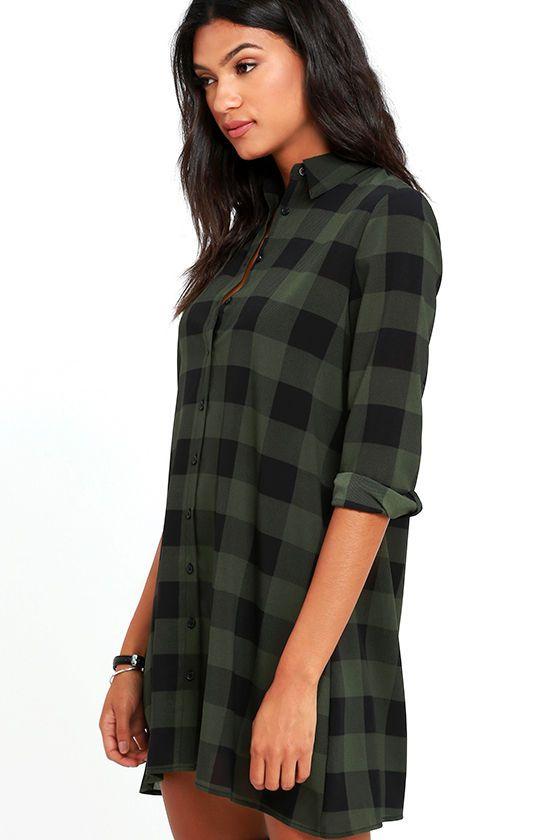 BB Dakota Holly-Anne Green Plaid Shirt Dress - Best 25+ Green Plaid Shirt Ideas Only On Pinterest Hipster Style