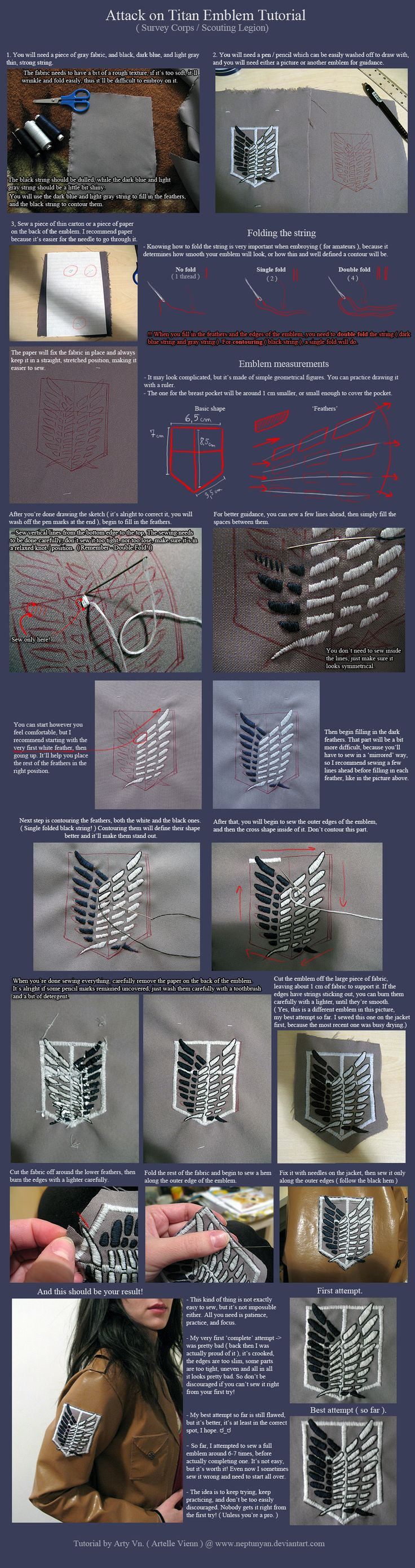 Attack on Titan Emblem Tutorial - Survey Corps. by neptunyan on deviantART - Pinner: I would consider using some stabilizing material (instead of paper) and an embroidery hoop.