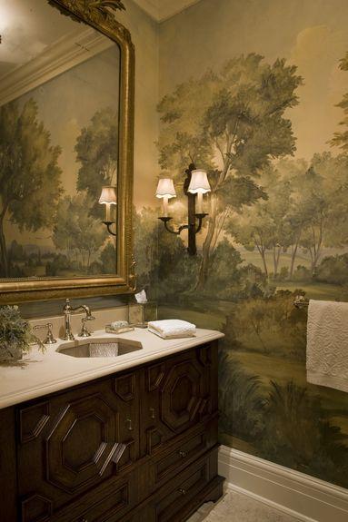 Watercolor design on bathroom walls designed by SLC Inteiriors