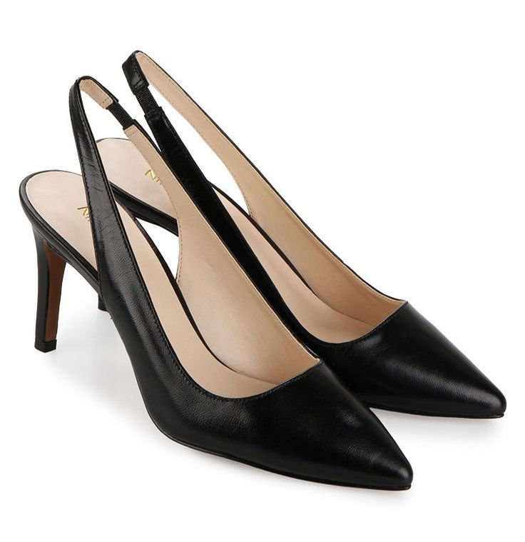Casablanc Heels by NINE WEST. Leather black heels inspired by the classic heels, that madde of leather , pointed style toe, sling back strap, a stylish shoes to wear for a formal occasion, pair this black classic heels with skirt or office work for a formal look. http://www.zocko.com/z/JG94c