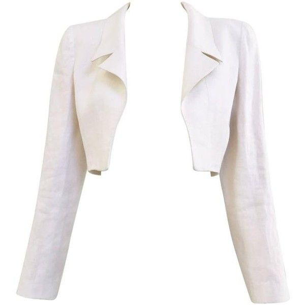 Preowned 90s Chanel Crop Linen Jacket (60.500 RUB) ❤ liked on Polyvore featuring outerwear, jackets, multiple, white jacket, linen jacket, white linen jacket, cropped jacket and chanel