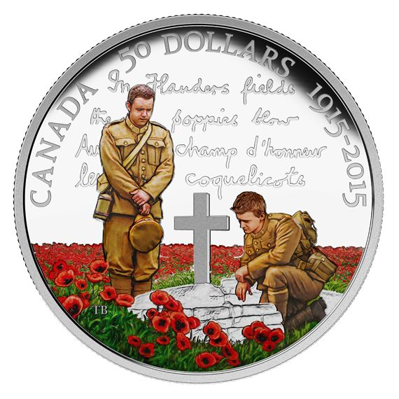 100th Anniversary of In Flanders Fields - 5 oz. Fine Silver Coloured Coin…
