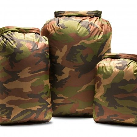 Camo Dry Bag Set (10, 20, 30L) This 3 piece set allows you to have the right sized dry bag for almost any conceivable use! A reliable and user-friendly kit for anyone that needs to keep things dry in any situation. 100% Waterproof & Extremely Light Weight. Durable TPU Coated RipStop Nylon Construction for Exceptional Resistance to Abrasion & Puncture. Heat Taped Seam Construction. 100% Watertight Roll-Down Closure System with Quick-Release Buckle