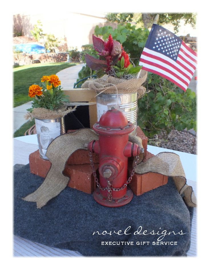 Table Decoration Ideas For Retirement Party easy table centerpiece for end of year preschool party dr seus oh the places you Las Vegas Fireman Firefighter Retirement Party Centerpiece Side Outdoor Table Setting Two
