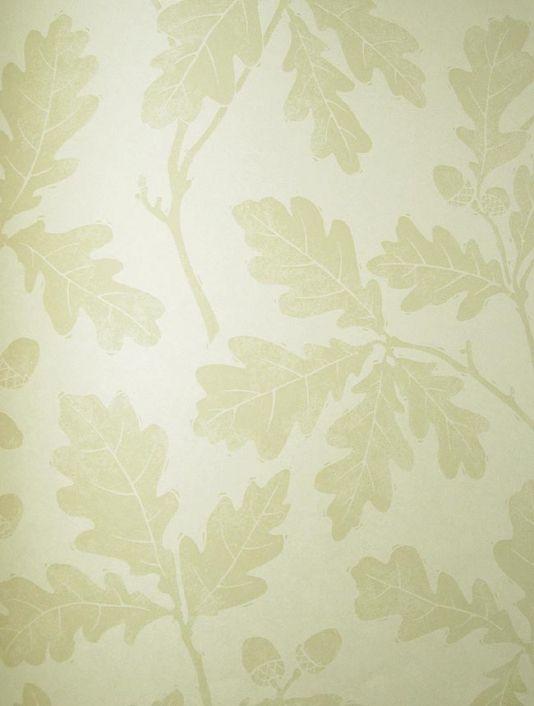 Oakwood Wallpaper Light cream wallpaper with print of oak leaves in beige