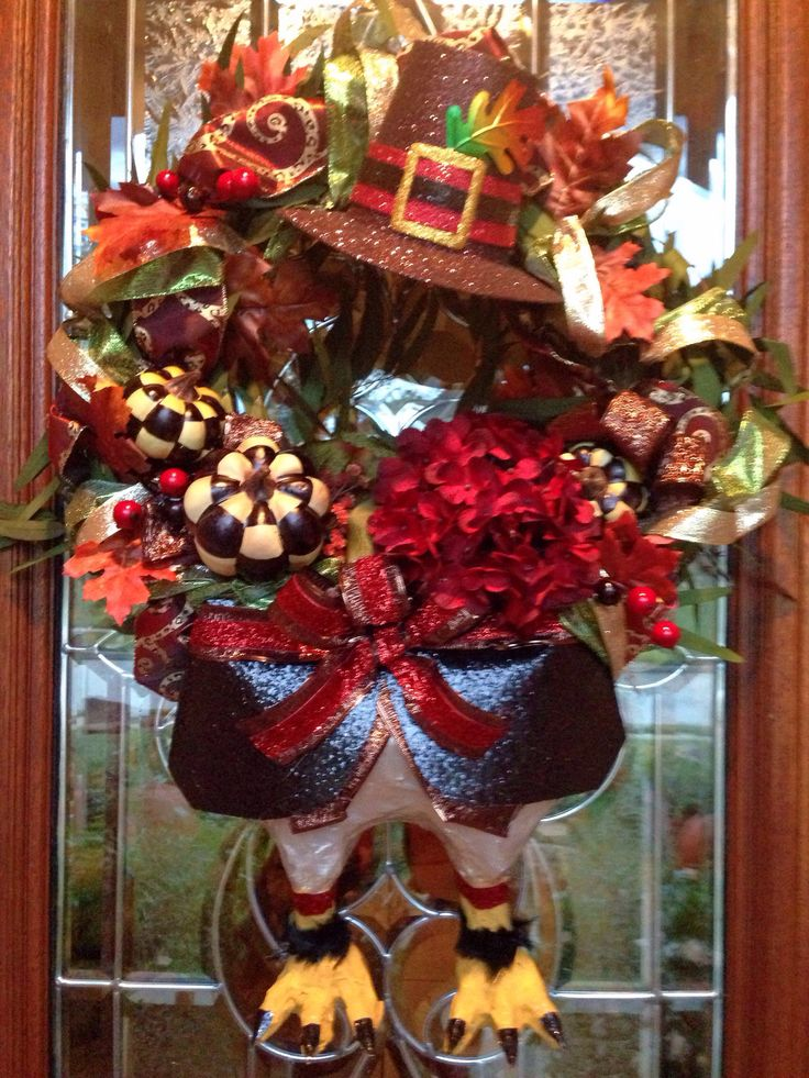 Lovely DIY Thanksgiving Turkey Wreath I Just Finished On Front Door. Turkey Body  Legs From Paper Mâché. Great Ideas