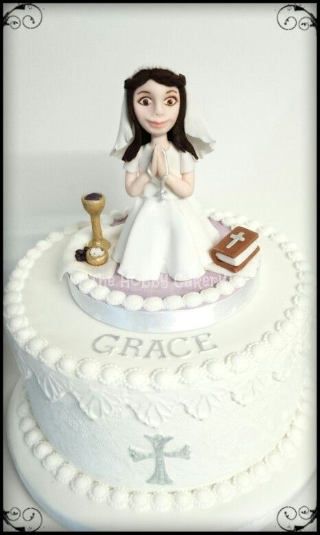 First Holy Communion cake personalised cake topper girl, the hobby cakery