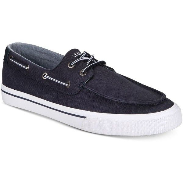 Tommy Hilfiger Men's Phinx Canvas Boat Shoes, Created for Macy's ($60) ❤ liked on Polyvore featuring men's fashion, men's shoes, men's loafers, navy, mens deck shoes, mens boat shoes, mens canvas deck shoes, sperry top sider mens shoes and mens topsiders