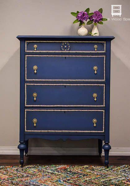 a dresser makeover with paint and nail head trim, bedroom ideas, how to, painted…