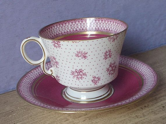 Vintage 1920's Red tea cup and Saucer, Paladin English teacup, red and white tea…