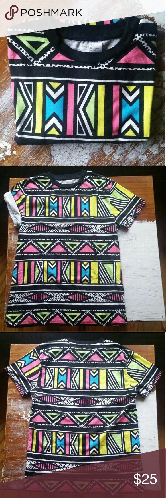 Design t shirt neon colors - H M Short Sleeve Neon Tribal Print Tshirt S Faux Tribal Shirt With Neon Colors From