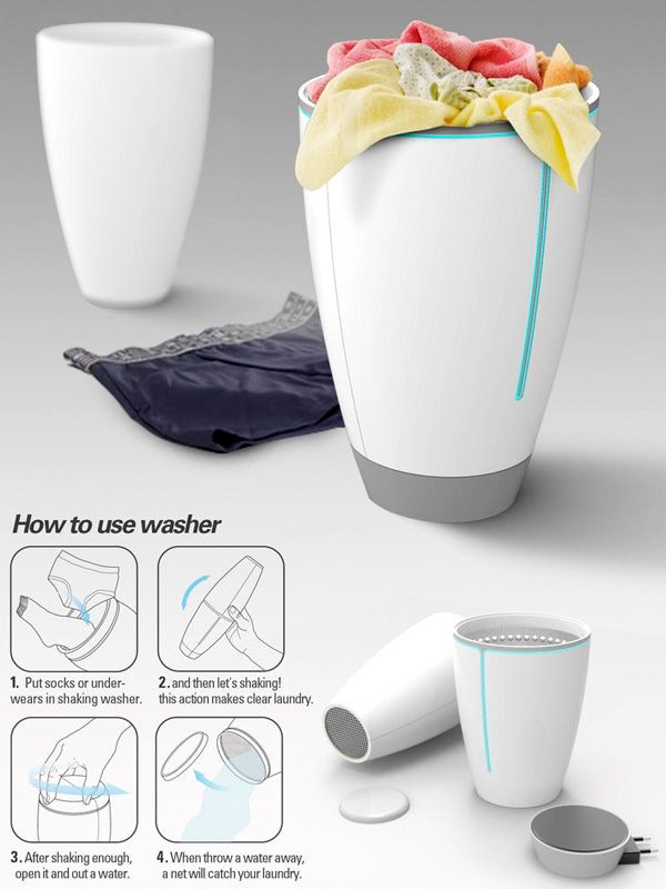 The Shaking Wash is a personal laundry washer for travelers. It is aimed at washing smaller articles like underwear and socks and uses a shaking motion to clean the clothes. The light compact design makes it portable and it works on both batteries and electric power. Ideal for the lazy folks! Read more at http://www.yankodesign.com/2013/09/06/shaky-wash/#4cgEUkcYIMpTecq2.99
