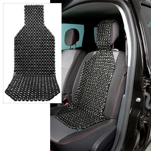 Wood Beaded Car Seat Cushion Cover Massager Black US Seller