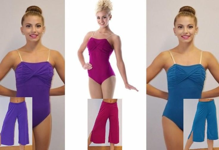 REFLECTIONS Teal Fuchsia or Purple LEOTARD & GAUCHOS Dance Costume Child & Adult #Cicci