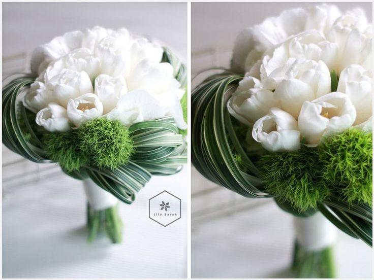 Bukiet Slubny - Tulipany | Bialy Bukiet - Zielony Bukiet | Kwiaty
