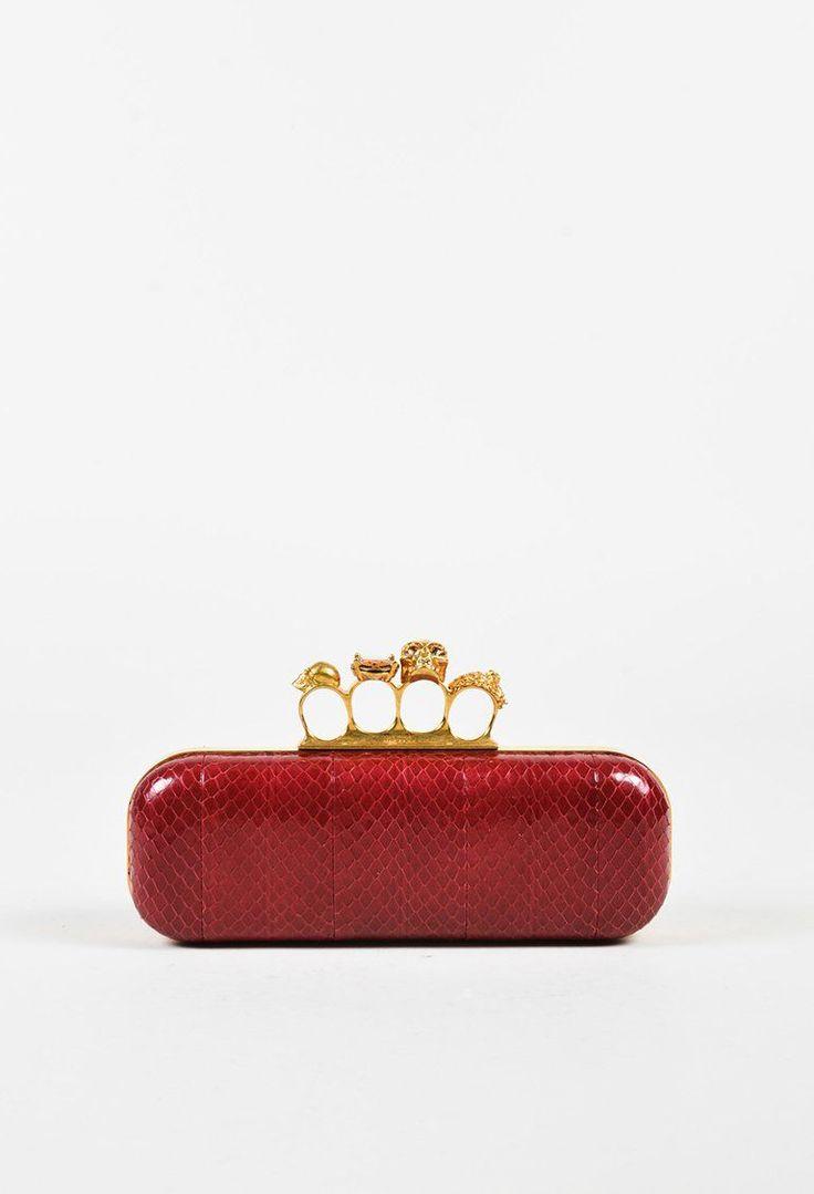 """Alexander McQueen Red """"Whipsnake"""" Snakeskin """"Knucklebox"""" Clutch Bag – Luxury Garage Sale"""