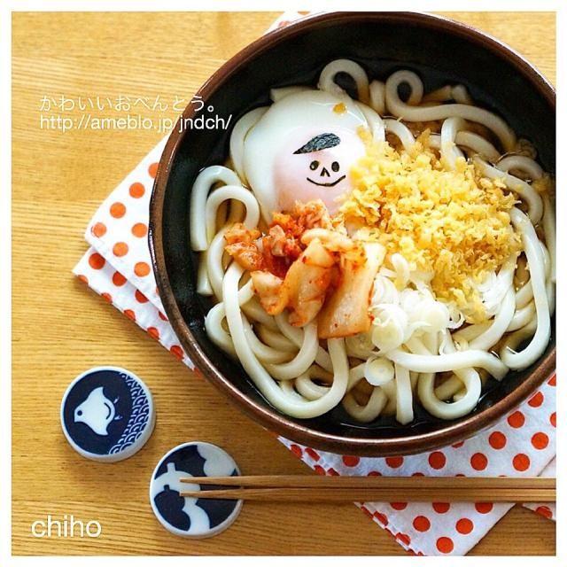 ついでにきょうのお昼ごはん♡ 梅だるまおにぎりと共に(◍•ᴗ•◍) - 46件のもぐもぐ - キムチ温玉うどん♡ by chiho