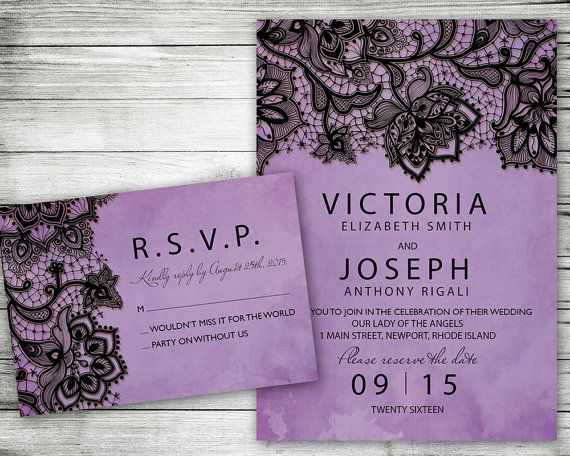 This Purple Lace Marriage Invitation by VG Invites features a watercolor background with black lace. Your family and friends will love receiving this beautiful wedding invitation. Can be customized for anniversary parties, weddings, bridal showers, whatever you wish and you can print at home. They come completely personalized with your wording. Custom printing is available. Convo me for details. If you wish to print these yourself, you will receive a high resolution printable digital file…
