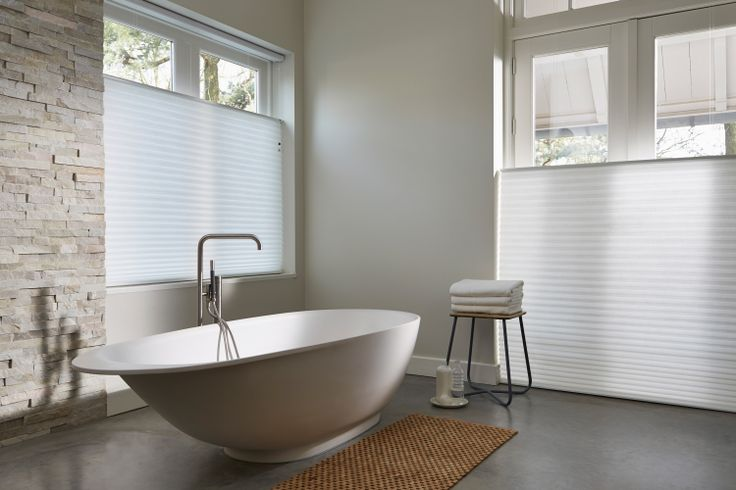 Versatile Luxaflex Duette Architella Ménage Shades can be used in your bathroom adding a touch of style unrivalled by any other window covering.  #bathroom #interiordesign