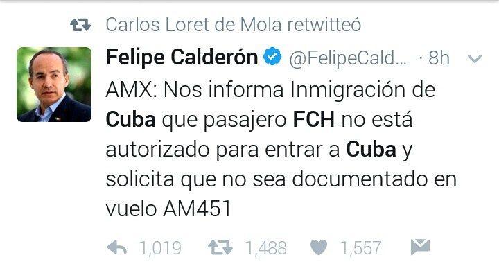Niegan la entrada a Cuba a Felipe Calderón - http://www.esnoticiaveracruz.com/niegan-la-entrada-a-cuba-a-felipe-calderon/