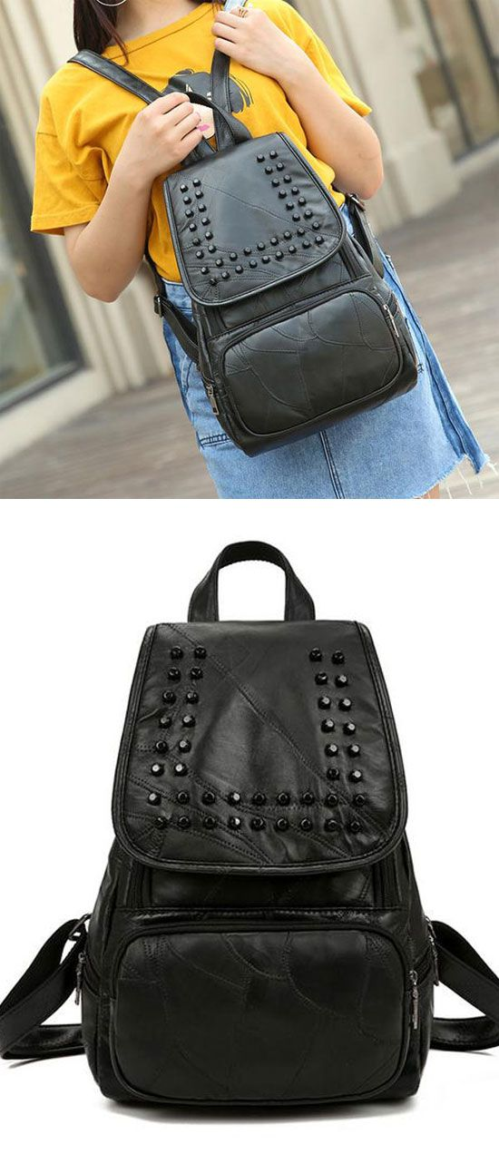 56ed0e7ff2 Punk Black Rivet College Student Backpacks for big sale!  rivet  student   Punk  Backpack  Bag