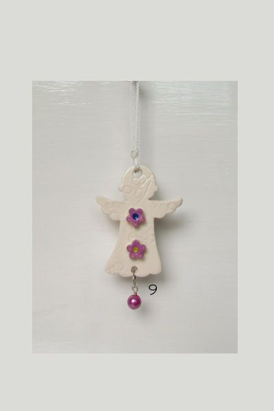 Irish Ceramic Angel lavender flowers  pearl by DelabudCreations