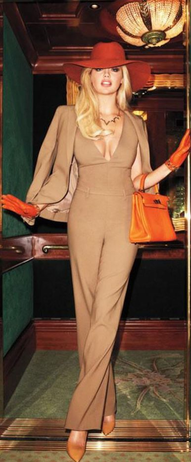 Kate Upton ~ ...red hat and beige pantsuit
